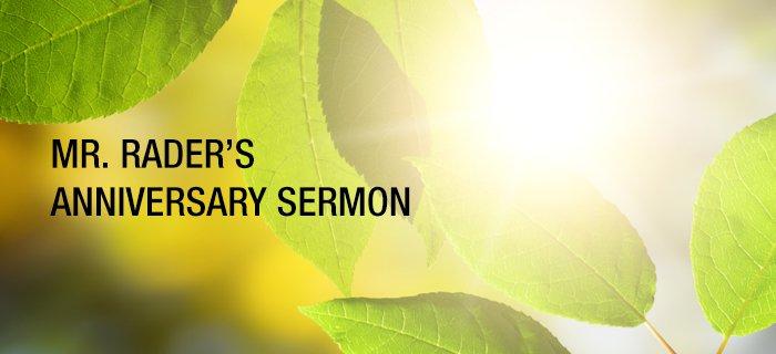 Mr. Rader's Anniversary Sermon poster